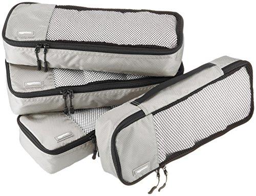AmazonBasics Schmale Kleidertaschen, 4 Stück, Grau