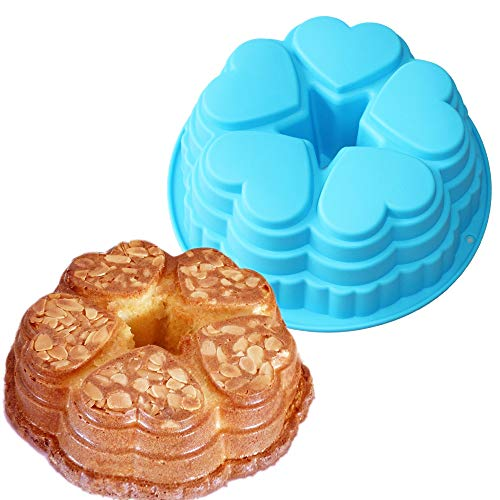 X-Haibei Heart Bundt Pan Silicone Cake Mold 9inch Hearts Treat Valentines Day