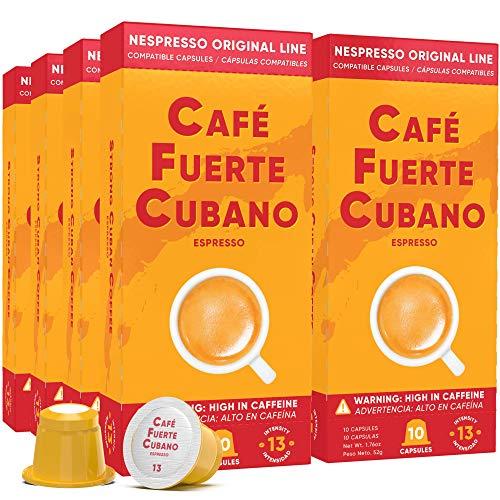 Cafe Fuerte Cubano, Espresso Pods, Nespresso Capsules Compatible with OriginalLine Machines, Strong Cuban Coffee, Ristretto Cafecito, Intensity 13, Dark Roast, High In Caffeine (80 Count)