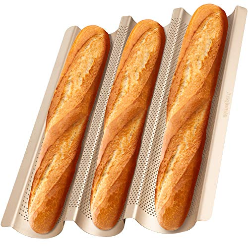 "Angiemic 15""x11"" Nonstick French Baguette Pans for Baking Carbon Steel 3 Loaf Perforated Baguette Baking Tray Bread Tray Bake Mold Cooking Oven Toaster Pan Cloche Waves Bakeware Golden"