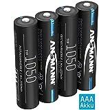 ANSMANN Akku AAA 1050mAh NiMH 1,2V - Micro AAA Batterien wiederaufladbar, hohe Kapazität ideal für hohen Strombedarf wie ferngesteuerte Fahrzeuge, Mikrofon, Elektronische Instrumente (4...