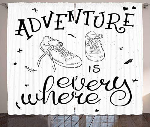 ABAKUHAUS Avontuur Gordijnen, Sneakers Hiking Woods, Woonkamer Slaapkamer Raamgordijnen 2-delige set, 280 x 225 cm, Zwart wit