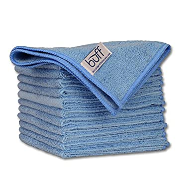 Buff Pro Multi-Surface Microfiber Towel – 12 Pack | Premium Cleaning Cloth | Clean, Dust, Polish, Absorb | Small 12 x12  (Blue)