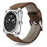 Lemumu Bluetooth Smart Watch extreme Dünne Business Leder Band Full HD IPS-Bildschirm voll Compaticable Sport Smartwatch, Silber