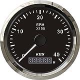 KUS タコメーター 時間計付き 0-4000RPM 12V 24V ディーゼルエンジン用