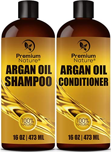 Organic Argan Oil Shampoo 16 oz and Argan Oil Conditioner 16 oz, Sulfate Free, Hair Repair Combo Set of 2 by Premium Nature by Premium Nature