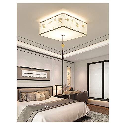 Handgemaakte stof slaapkamer lamp, vierkant plafond lamp, 40/50/60cm, smeedijzeren randen, prachtige en elegante traditionele verlichting