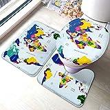 Juego de alfombrilla de baño Mapa geopolítico de colores Juegos de alfombrillas antideslizantes para alfombras de baño, cubierta de almohadilla para inodoro Alfombrilla de baño y tapa de inodoro