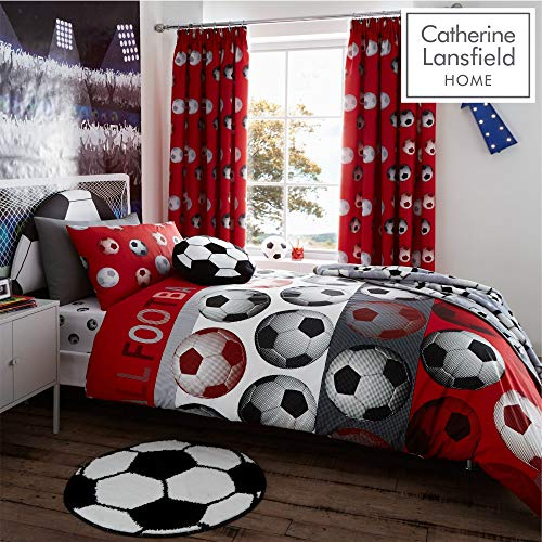 Catherine Lansfield Football Easy Care Single Duvet Set Red