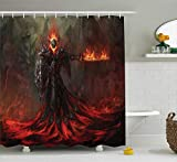 Fantasy World Decor Collection, Demonic Dark Scary Creature Melting Up from Magma Evil Lord in Temperate Zone Decor, Polyester Fabric Bathroom Shower Curtain,Red Grey 72x72 Inches