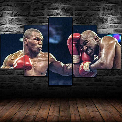 13Tdfc Impresiones sobre Lienzo 5 Cuadros En Lienzo Modernos Dormitorios Murales Pared Lona XXL Grande Hogar Cuadros Decora Salón Piezas - Enmarcado Mike * Tyson Evand * Holyfield Boxing