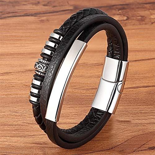 DASHUAIGE Armband Geometrisch Unregelmäßige Grafiken Edelstahl Lederarmband Schwarz/Braun Farbe Zubehör Schmuck Für Männer