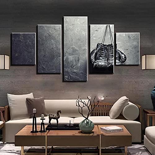 ARIE 5 Stück/Teilige Leinwand Schwarze Und Weiße Boxhandschuhe 5 Teilig Leinwandbilder Moderne Kunst Wand Hause Dekorative Leinwand Hd Print Weihnachten