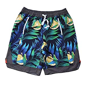 メンズスイムトランクス メンズ5ポイント男の子水泳パンツクイックドライボードビーチスイムショーツレジャーショーツ付きメッシュ裏地ポケット、調節可能な巾着 (Color : Color, Size : XL)