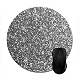 Goodaily Mouse Pad Faux Silver Glitter Glamour Girly Abstract Glam Mouse Mat Stylish Office Accessory 8in