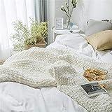 Gestrickte Decke, Grobe Strickdecke Wolle Garn Arm Stricken werfen Super große klobige Stricken Decke Haustier Bett Stuhl Sofa Yoga Matte Teppich (Weiß,100 * 120cm)
