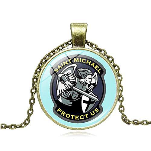 Collar con colgante de protección con espada divina Senhield para hombre, Arcángel San Miguel Divino Escudo de Protección Collar Yaoping Aleación Viking Collar -O