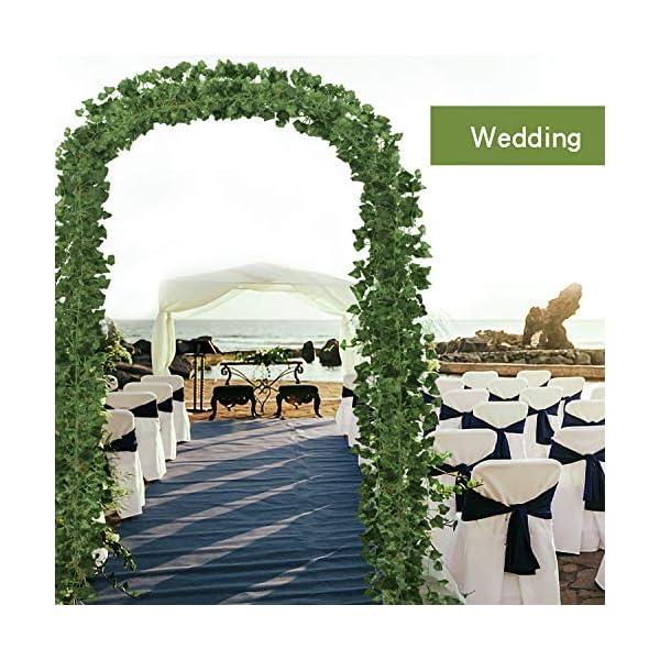 12 Pack Plantas Artificial Decoración Hojas, Hiedra Artificial 26m Garland Plants Hanging Wedding Garland Fake Follaje…