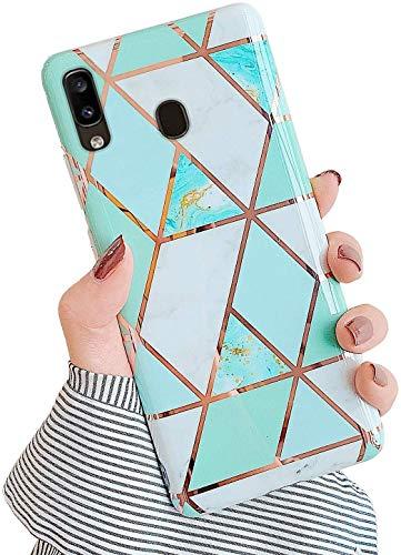 Saceebe Compatible avec Samsung Galaxy A20 / A30 Coque Etui Silicone 3D Géométrique Marbre Housse Léger Mince Flexible Étui Femme Fille Coloré Peint Housse Protection Slim Gel Cover,Vert