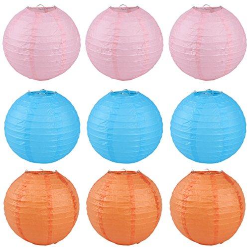 YiyiLai Lot DE 9 Lanterne en Papier Lampion Décoration Anniversaire Mariage Fête Orange+Rose+Bleu 20cm/8\