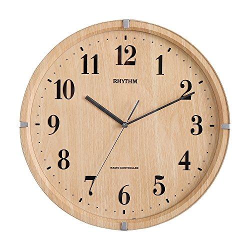 おしゃれでシンプル、遠くからでも見やすい壁掛け時計 電波時計 ライトブラウン(音が気にならない連続秒針)メーカー保証1年
