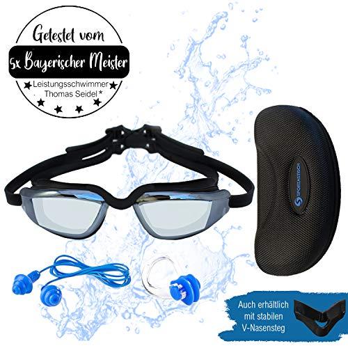 """Sportastisch Schwimmbrille """"SwimStar"""" mit frei wählbaren Nasensteg, Beschlagfrei & aufwendig verspiegelt fürs Freiwasser, Bonus E-Book & bis zu 3 Jahren Garantie mit SPITZENSPORTLER EMPFEHLUNG*"""