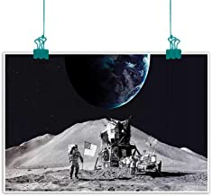funkky Outer Space Decor Living Room Decorative Painting Moon US Spaceman Launching on The Exploring Dark Matter Orbit Luna Design Modern Minimalist Atmosphere 20