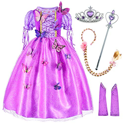 Princess Costume For Girls Party Dress Up With Long Braid and Tiaras Set Age of 4-5 Years(110cm)
