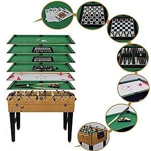 HJQ Mesa de Multijuegos 7 en 1 Fútbol de Mesa, Billar, Air Hockey, Backgammon, Blackjack, Ajedrez y Damas, Juguete Deportivo de Póquer