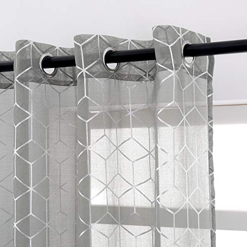 Taisier Home Foil Silver Print Sheer Curtain Deep Gary Voile 84 inches Long Window Curtain Bedroom Geometric Design Ring Top Brainy Pattern 2 Panels,Sheer Gary and Silver Curtains for Living Room