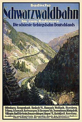 Badische Schwarzwaldbahn Gebirgsbahn Bodensee Offenburg Konstanz Plakate A1 263
