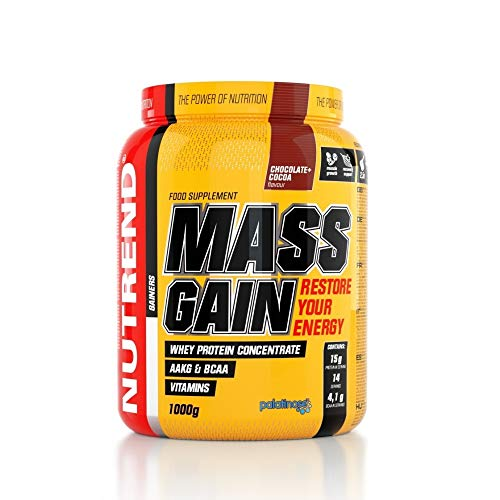 Nutrend Mass Gain Protein 1kg Chocolate Coconut Concentrate Powder High Calories Mass Gainer with AAKG, Taurine, BCAA, L-glutamine and Mixture of Vitamins