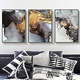 Moderno abstracto dorado de lujo lienzo pintura acuarela imagen decoración del hogar arte de la pared carteles e impresiones minimalistas para sala de estar | 50x70cmx3 | sin marco