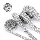 BLINGINBOX 5 Yard Silver Crystal Rhinestone Ribbon Sparkling Rhinestone Ribbon Mesh Wrap Roll Bling Arts Crafts Event Decorations 1cm Width(Crystal)