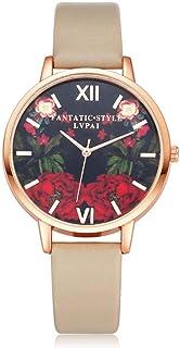 Yuanhua Women Watch, Women Lady PU Strap Alloy Case Flower Pattern Fresh Lovely PU Quartz Casual Wristwatch