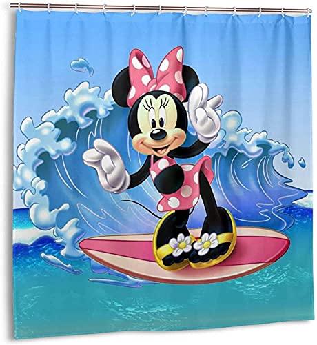 Cartoon Minnie Surfing Maus Duschvorhang Badezimmer Dekor Exquisite Schimmelresistent Wasserdicht Extra Lang Badvorhang mit 12 Kunststoffhaken