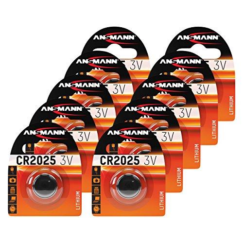 ANSMANN 10x CR2025 Batterie Lithium Knopfzelle 3V / Qualitativ hochwertige Knopfbatterien/Ideal für Autoschlüssel, TAN-Gerät, Taschenrechner, Kinderspielzeug, Fernbedienung, Uhren, etc.