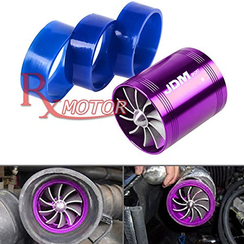 Rxmotor 2.5' Short Ram Cold Air Intake Fuel Gas Saver Dual Fan Universal Fit Super Charger Twin Turbo TurboCharger (PURPLE)