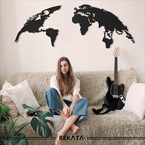 Globe Metal World Map Wall Art Decoración de pared para el hogar, oficina, sala de estar, dormitorio, inauguración de la casa y regalo de boda 152,4 cm x 61 cm