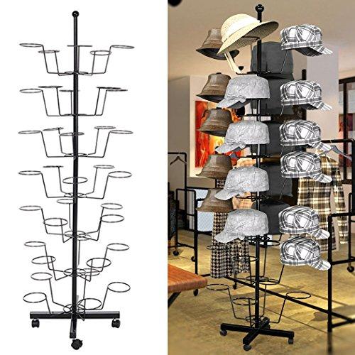 Oanon Hat Cap Display Retail Rotating Adjustable Metal Stand Hanger Rack Organizer