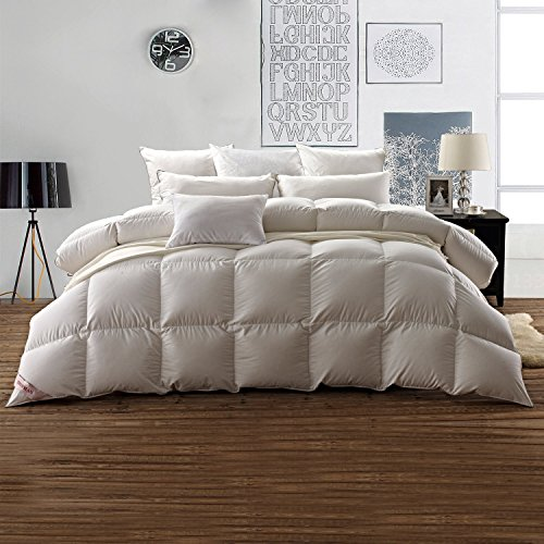 SNOWMAN White Goose Down Comforter Full/Queen Size 100% Cotton Shell...