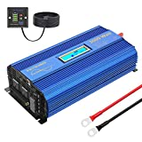 VOLTWORKS 24 Volt 2000W Pure Sine Wave Power Inverter DC 24V to AC 110V 120V and Hardwire Block with LCD Display Remote Controller and Battery Cables Dual 2.4A USB for Charging RV Van Truck Boat