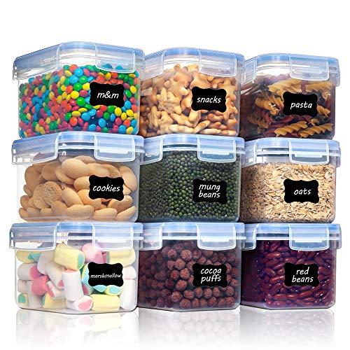 Vtopmart 0.8L Vorratsdosen Set, Müsli Schüttdose & Frischhaltedosen, BPA frei Kunststoff Vorratsdosen luftdicht,Trockenfutterbehälter, Satz mit 9, 24 Etiketten für Getreide, Mehl, Zucker usw