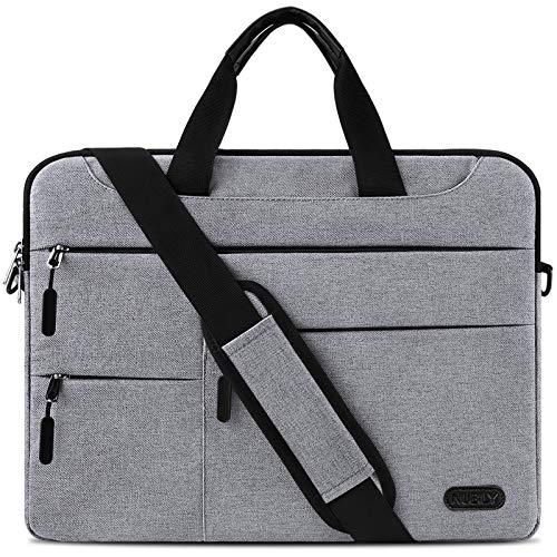Borsa Porta PC Tracolla 15,6 Pollici Uomo Donna Laptop Sleeve Borsa Notebook Computer Portatile Sottile Impermeabile Lavoro Viaggio Borsa Grigio Chiaro