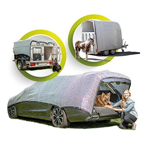 GREENSHADE® ALUNETZ 2,5m x 2,5m - 6m² | 85% höchste Premium Reflektion | Schattennetz Auto | Aluminet Hitzeschutz reduziert Wärmestauung | Sonnenschutz Auto Hund Terrasse Balkon | Hunde Kühlmatte