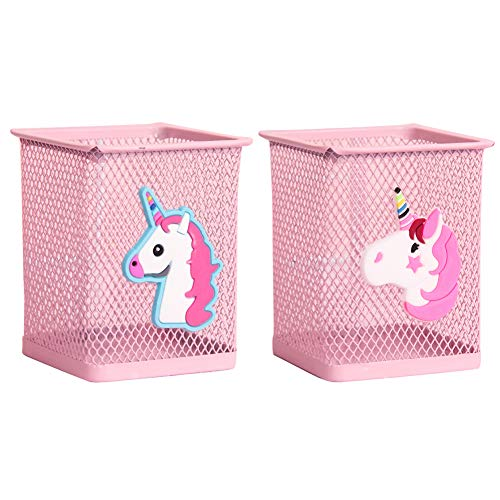 Trycooling 2 Pack Metal Cute Pen Pencil Holder Office Home Desk Square Pencil Cup Caddy Box Makeup Brush Holders for Girls (Unicorn)
