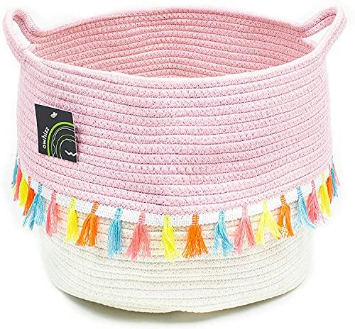 LiuliuBull Baumwollseilkorb mit Griffe Runder gewebter Lagerbehinderung Blumentopf (Color : Tassel)