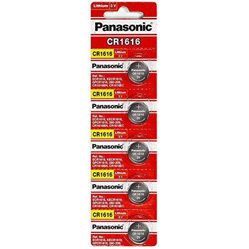 Panasonic CR1616 3V Coin Cell Lithium Battery, Retail Pack of 5