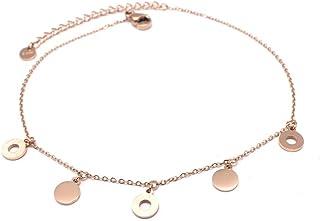 Les Trésors De Lily Q0917 - Catena cavigliera acciaio 'Chorégraphie' rosa dorato (oro rosa)- tondo 6 mm.