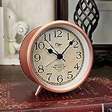 YANGWEI Imitación Rojo Cobre Metal Número Romano Reloj Despertador Cobre Antiguo Retro Americano Creativo Reloj Mudo Reloj Despertador 4 Pulgadas